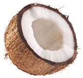 Half of coconut isolated on a white background. Stock Photo