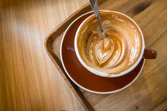 Half a coffee latte art Royalty Free Stock Photos