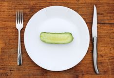 Half cucumber on plate Royalty Free Stock Photo