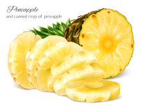 Half cut and canned sliced pineapple. Royalty Free Stock Images