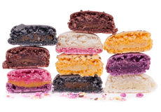 Half cut  colorful macaroons Stock Photos