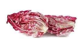 Half cut fresh red radicchio on white. Background Stock Images