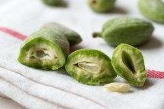 Half Cut Green Almonds with Seeds / Cagla Badem. Organic Food Royalty Free Stock Photo