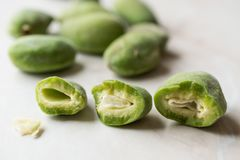Half Cut Green Almonds with Seeds / Cagla Badem. Organic Food Stock Image