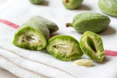 Half Cut Green Almonds with Seeds / Cagla Badem. Organic Food Stock Photo