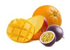 Half cut mango, orange and passion fruit isolated Royalty Free Stock Image