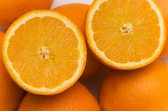 Half cut oranges Stock Photos