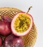 Half cut passion fruit. Isolated on white background Stock Image