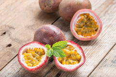 Half cut passion fruit. Stock Photos
