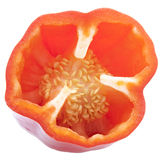 Half cut red bell pepper with its seeds Royalty Free Stock Image