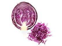 Half and cut red cabbage Royalty Free Stock Photos