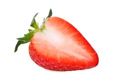 Half cut of red strawberry isolated on the white stock photo