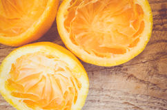 Half cut squeezed oranges Royalty Free Stock Images