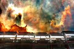 Half Cut Trucks Explosion. Image of half cut trucks against an explosive background Royalty Free Stock Images