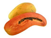Half cut and whole papaya fruits. Royalty Free Stock Photography