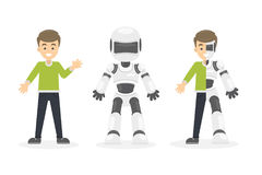 Half cyborg, half human. Set of illustrations with happy smiling man and white robot stock illustration