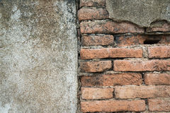 Half damage wall of old concrete and brick background Royalty Free Stock Images