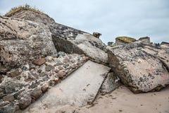 Half-demolished military fortifications Stock Photo