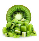 Half and diced kiwifruit isolated over white Stock Image