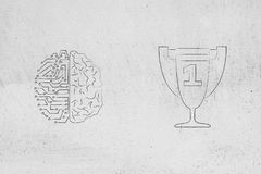 half digital half human brain next to 1st place competition winner trophy royalty free illustration