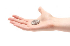 Half dollar on a palm Royalty Free Stock Image