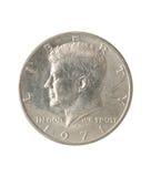 Half Dollar, White Background. Royalty Free Stock Photos