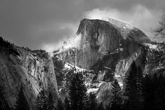 Half Dome. Black and white image of Half Dome in Yosemite National Park Stock Photos