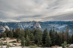 Half Dome in all its glory and beauty, illuminated stock photo