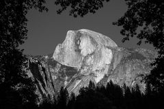Half Dome Black and White. Half Dome, Yosemite National Park, California in Black and White Royalty Free Stock Photos