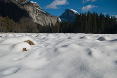 Half dome and frozen meadows Stock Photo