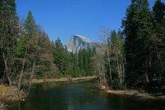 Half Dome with The Merced River Stock Photos