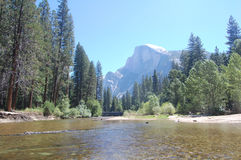 Half dome and merced river Stock Images