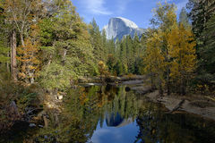 Half Dome and Merced River Royalty Free Stock Image