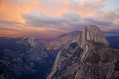 Half Dome Mountain at sunset in Yosemite National Park Royalty Free Stock Photography