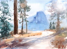 Half Dome Mountain Yosemite National Park Landscape Watercolor Nature Illustration Hand Painted Royalty Free Stock Image
