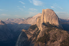 Half Dome peak in sunset light from Glacier Point trailhead Royalty Free Stock Images
