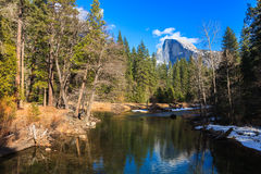 Half Dome Reflection. Half Dome reflected in the Merced River in Yosemite Valley, California Stock Images