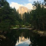 Half Dome Reflection. Half Dome mountain in Yosemite National park is reflected in the water of the Merced River in California Royalty Free Stock Images