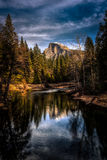 Half Dome Reflections, Yosemite National Park, California. Half Dome reflects off the Merced River, taken in Yosemite National Park Royalty Free Stock Photo