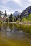 Half dome and river. Yosemite National Park, California, United States stock photo