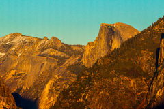 Half Dome Sunset. Telephoto Image Of The Iconic Granite Dome At Sunset Royalty Free Stock Photos