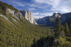 Half Dome from Tunnel View viewpoint 2. Morning view of Yosemite Valley under beutiful skies from Tunnel View viewpoint with Half Dome in the distance Royalty Free Stock Photos