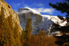 Half Dome in Winter. A shot of Snow-capped Half Dome in Yosemite National Park in the Winter Stock Images