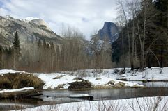 Half Dome in Winter above Merded River. Half Dome in Winter in Yosemite National Park reflecting in the Merced River Royalty Free Stock Photos