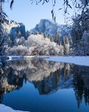 Half Dome winter morning scene. Early morning scene of the Merced River and Half Dome, Yosemite National Park stock image