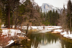 Half Dome at Yosemite. Half dome seen from Sentinel Bridge at Yosemite National Park, California Royalty Free Stock Images