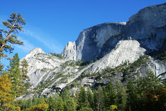Half dome at Yosemite. National park with colorful tree royalty free stock photo