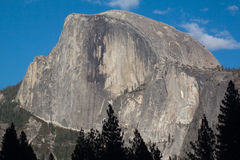 Half Dome Yosemite. Close up of half dome mountain in Yosemite taken from the valley floor stock images