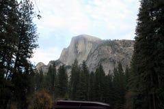 Half Dome, Yosemite National Park, California view from Curry Village. Half Dome, Yosemite National Park, California, seen from Curry Village Half Dome Parking Royalty Free Stock Photos