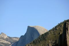 Half Dome, Yosemite National Park, California, zoomed in view from Tunnel View. Half Dome, Yosemite National Park, California, Cloud Rest on left, zoomed in view Stock Photo
